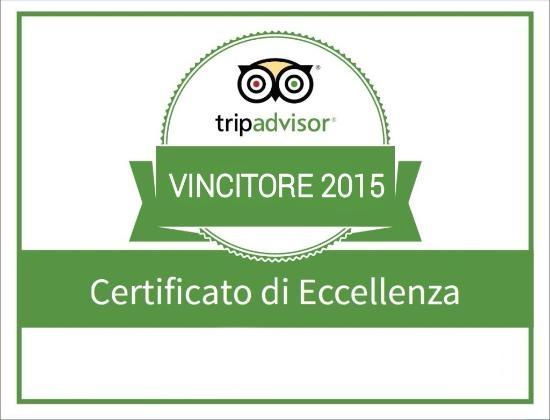 certificato di eccellenza TripAdvisor 2015